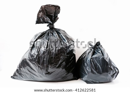 garbage bag isolated on white background - stock photo
