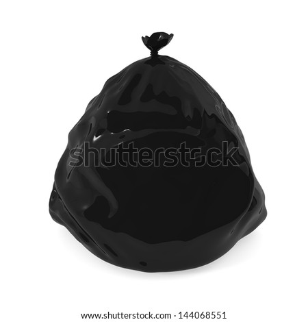 Garbage bag isolated on white - 3d illustration - stock photo