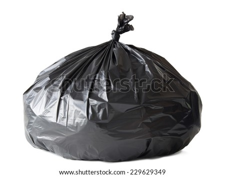 Garbage bag isolated on white with clipping path - stock photo
