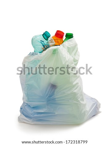 garbage bag with plastic bottles,recycling concept - stock photo