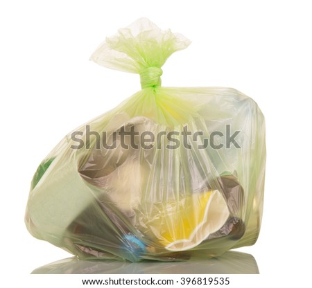Garbage bags with household waste isolated on white background. - stock photo