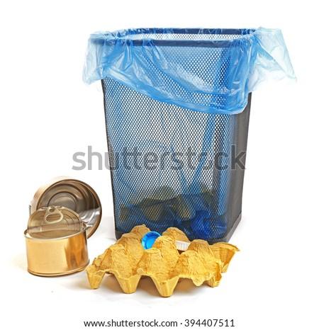 Garbage basket, isolated on white - stock photo