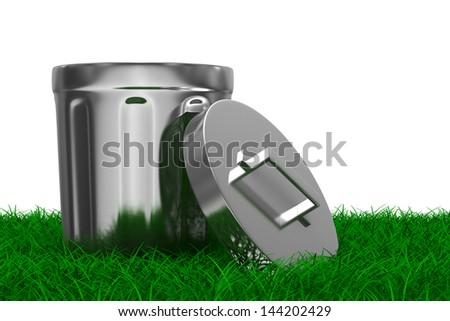 Garbage basket on grass. Isolated 3D image - stock photo