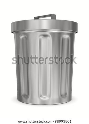 Garbage basket on white background. Isolated 3D image - stock photo