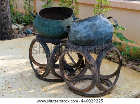 garbage bin made from old rubber tires ,thailand - stock photo
