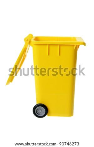 Garbage Bin on White Background - stock photo