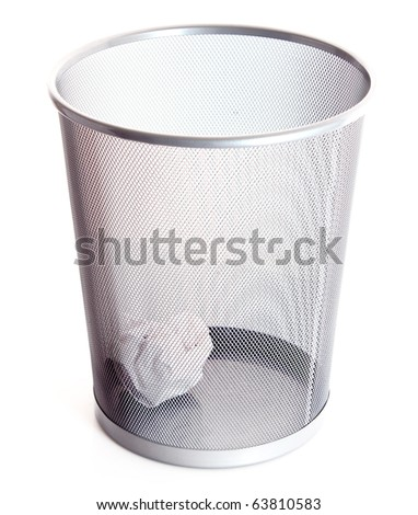 Garbage bin with paper isolated on white background - stock photo