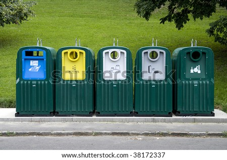 garbage can for recycle - stock photo