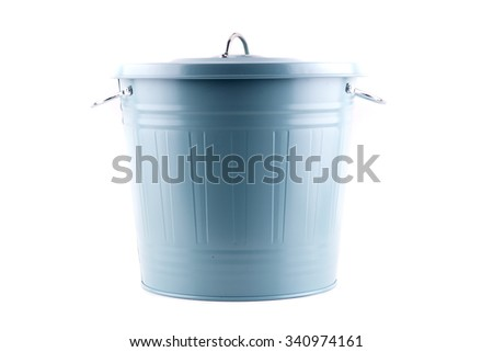 garbage can isolated on white - stock photo