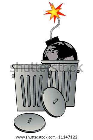 garbage can with globe as bomb - global destruction - stock photo