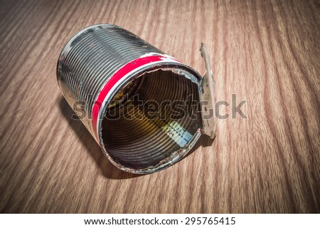 garbage cans on wood floor and wood backgrounds - stock photo