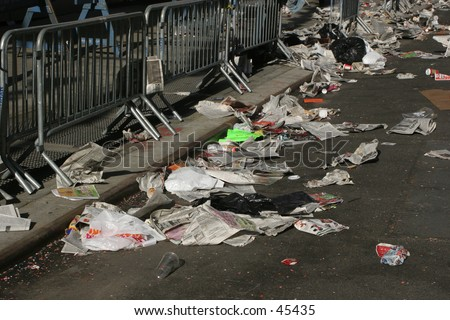 Garbage cluttering streets in Manhattan - stock photo