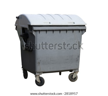 Garbage container. Gray four wheeled trash can isolated - stock photo