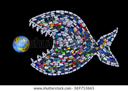 Garbage destroying our world oceans and earth - concept with plastic bottles fish eating the planet - stock photo