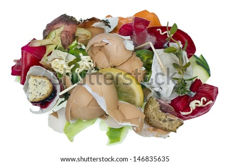 Garbage dump food waste isolated concept - stock photo