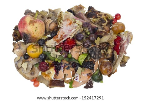 Garbage dump rotten food waste isolated concept  - stock photo