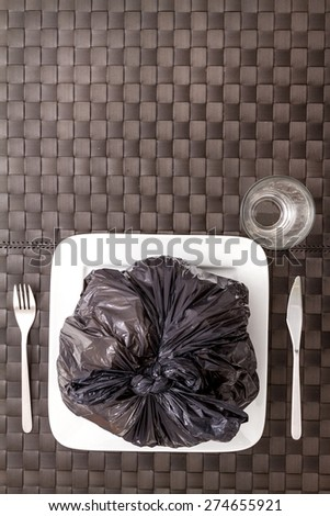 Garbage food wich damage health, background