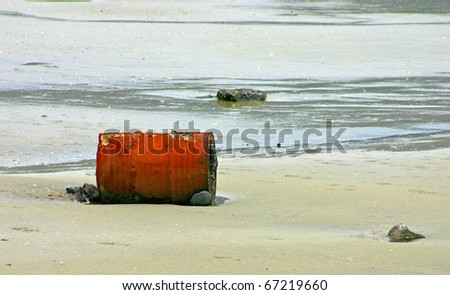 Garbage found on the beach - stock photo