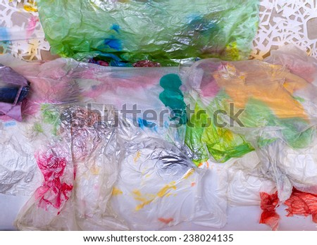 garbage of Plastic bags reuse for background. - stock photo