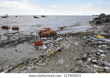 garbage on the baech - stock photo