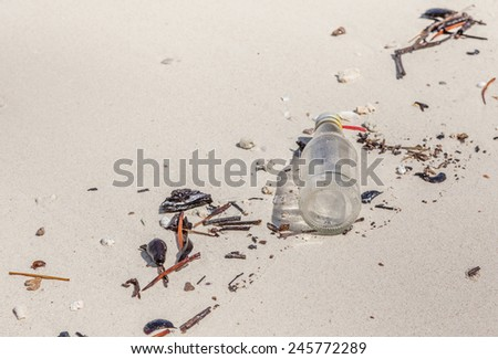 Garbage on the beach, concept of beach pollution environment. - stock photo