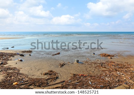 Garbage on the beach. Pollution on the coast. - stock photo