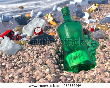 garbage on the sea beach ecologic concept background - stock photo