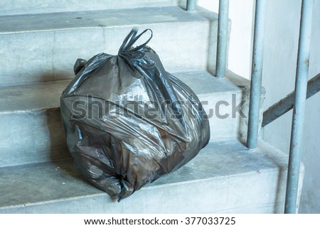 Garbage on the stairs - stock photo