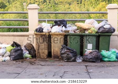 garbage on the street - stock photo