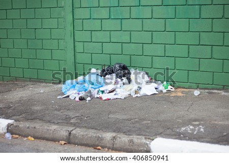 Garbage pile on street in front of green wall - stock photo
