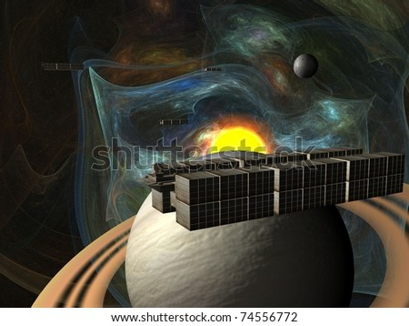 Garbage ship in Sun system over Saturn - stock photo
