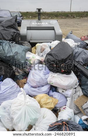 garbage, strike by municipal waste collection - stock photo