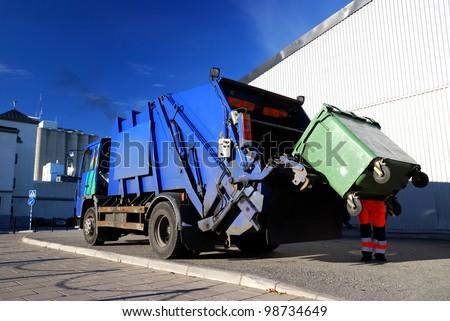 garbage transport car loading - stock photo