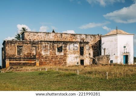Garcia D'Avila castle remains and chapel in Praia do Forte village, Bahia, Brazil. - stock photo