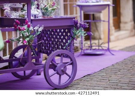 Garda, Italy - May 03 2016: Lavender wagon near the flower boutique on the street