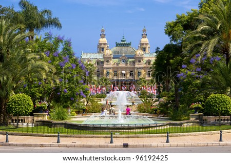 Garden and fountains near the Casino in Monaco - stock photo