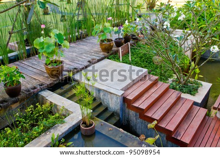 garden and path - home exterior - stock photo