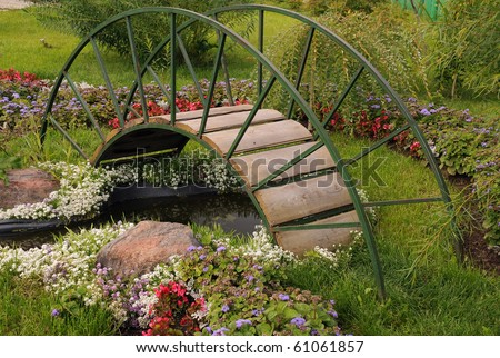 Garden bridge stock images royalty free images vectors for Artificial plants for outdoor ponds