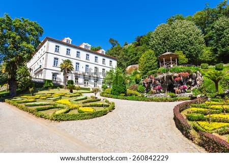Garden at Bom Jesus do Monte is a Portuguese sanctuary near Braga, Portugal - stock photo
