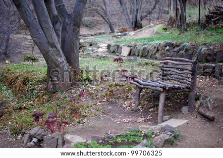 garden bench in botanic garden: spring time