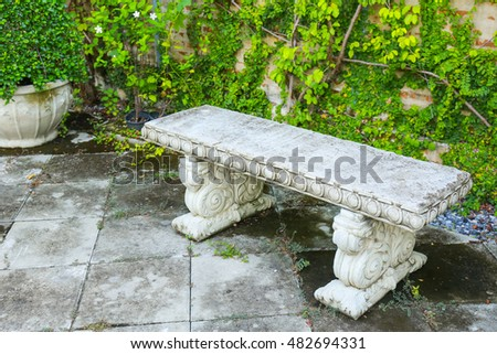 Garden Bench Made of stucco stone