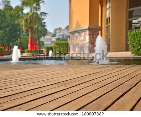 Garden boardwalk - stock photo