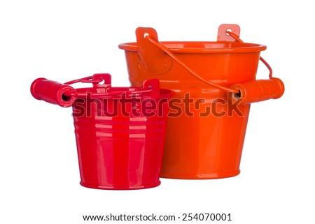 Garden bucket on isolated white background - stock photo