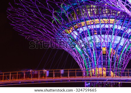 garden by the bay singapore august 17 2015 night view of supertree
