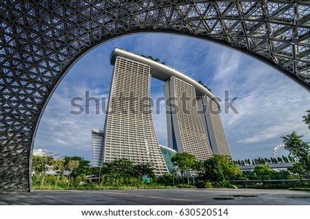 Garden By The Bay, Singapore  Oct 8, 2016: Marina Bay Sands Hotel