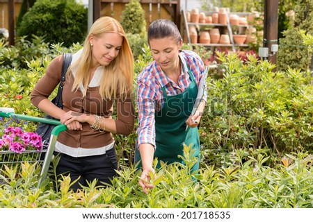 Garden center worker give advice to customer woman about plant - stock photo