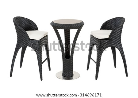garden chairs and table - stock photo