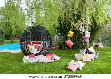 garden decoration and garden lantern - stock photo