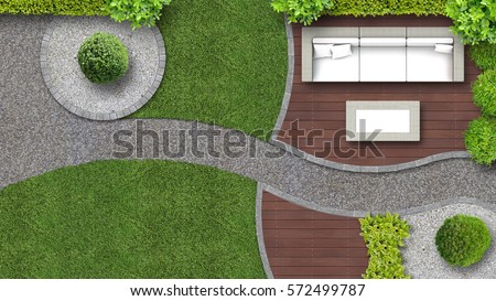 garden design in top view including garden furniture - Garden Furniture Top View Psd