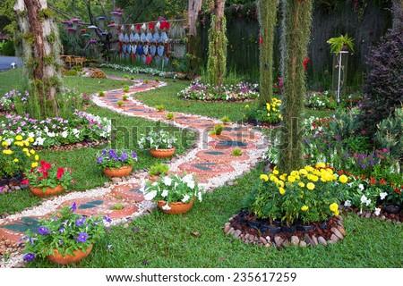 garden design,walk way - stock photo